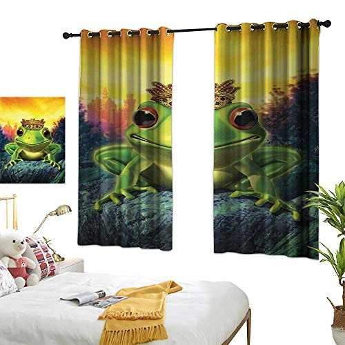 WinfreyDecor Animal Customized Curtains Frog Prince with His Golden Crown on The Rocks Fairytale Soul Mates Illustration 63