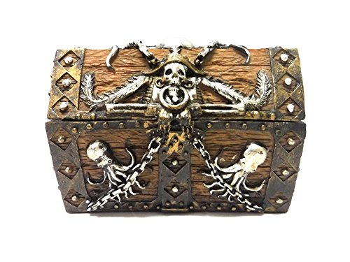 PTC 5.5 Inch Skull and Chain Pirate's Chest Jewelry/Trinket Box Figurine ()