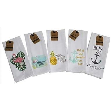 Kitchen Towels Set of 5 Summer Nautical Designs 16 x 28 100% Cotton Seahorse Pineapple Anchor Flamingo