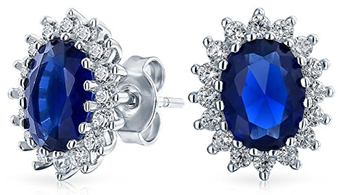 Bling Jewelry Oval Simulated Sapphire September Birthstone CZ Stud earrings 925 Sterling Silver 12mm