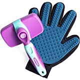 Self Cleaning Slicker Brush and Grooming Glove for All Cats and Dog - Pets With Short To Long Hair - Reduces Shedding - Storage Bag Included