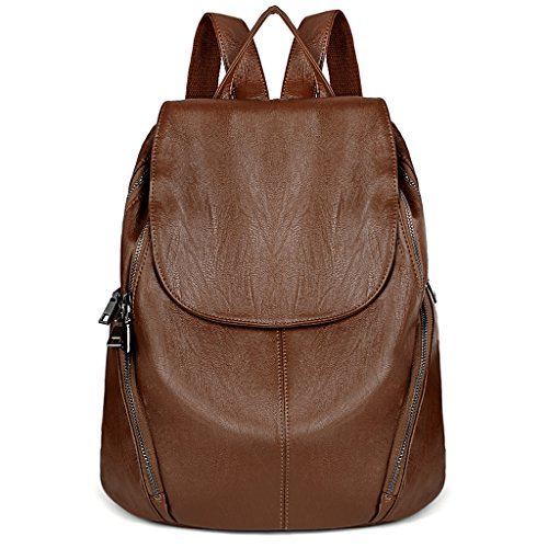 UTO Daypack Flap Shoulder Vegan Leather brown Oversize Friendly Washed Theft Bag Anti Women 231 Backpack Black rSqCwrU