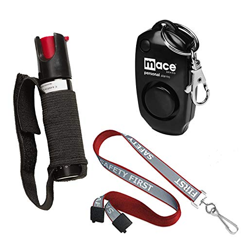 Safety First Runners Safety Bundle: Sabre Jogger Runner Pepper Spray, Mace Personal Key Chain Alarm and a Red Reflective Breakaway Lanyard - Lot of 3 as Shown (Model Mace Jogger)