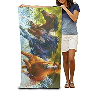 Horse RunningWater Splash Quick-drying Pool Beach Towel Travel Bath Towel For Adults