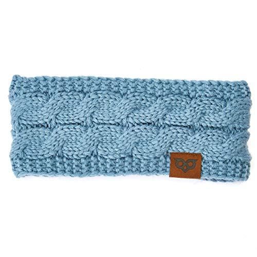 (YOOWL Winter Beanie Headwrap Hat CapFashion Stretch Twisted Cable Knit Fuzzy Lined Ear Warmer Headband Women Dark)