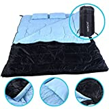 2 Person 86″ x 60″ W /2 Pillows Large Double Sleeping Bag 23F/-5℃ Camping Hiking For Sale