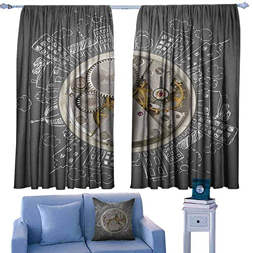 ParadiseDecor Clock Kitchen Curtains an Alarm Clock Print with Buildings and Clouds Around It Checking The Time Art,Patterned Drape for Kids Bedroom,W72 x L63 Inch