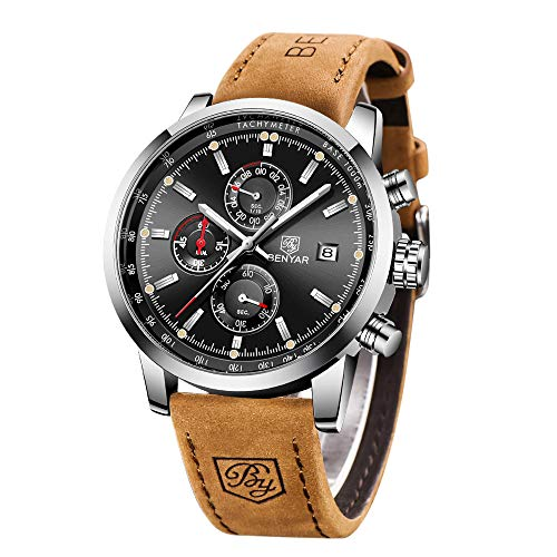 BENYAR Waterproof Quartz Men Watch, Fashionable Chronograph Analog Water-Resistant Business Brown Leather Watches
