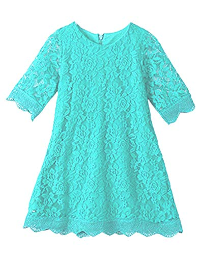 APRIL GIRL Flower Girl Dress, Lace Dress 3/4 Sleeve Dress (Mint, 12-18 Months)]()