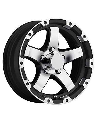 "13"" T08 ALUMINUM TRAILER WHEEL WITH BLACK AND MACHINED 5 SPOKE 13X5 5X4.50 T08-35545BMLS"