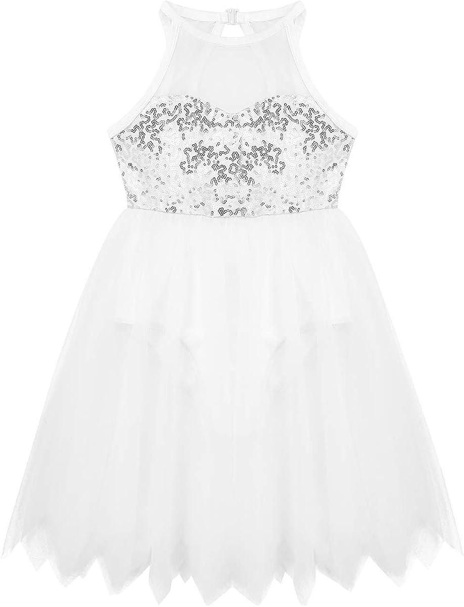 YiZYiF Girls Ballerina Camisole Sequined Dancing Lyrical Dress Asymmetric Skirt Dancewear