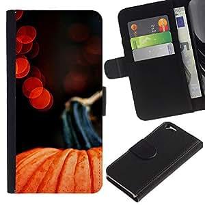 KLONGSHOP // Tirón de la caja Cartera de cuero con ranuras para tarjetas - Luces de Halloween Rojo Naranja - Apple Iphone 6 //