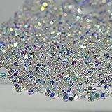 New 1440Pcs Mini Diamond Shining Diy Rhinestones Crystal Rhinestones Need Glue Phone & Nail Art Decoration Ab Clear + 1 FREE Triangle Plate