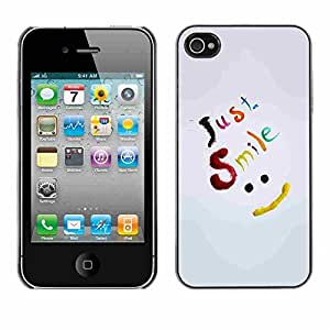 Shell-Star ( Just Smile Be Happy ) Fundas Cover Cubre Hard Case Cover para Apple iPhone 4 / 4S