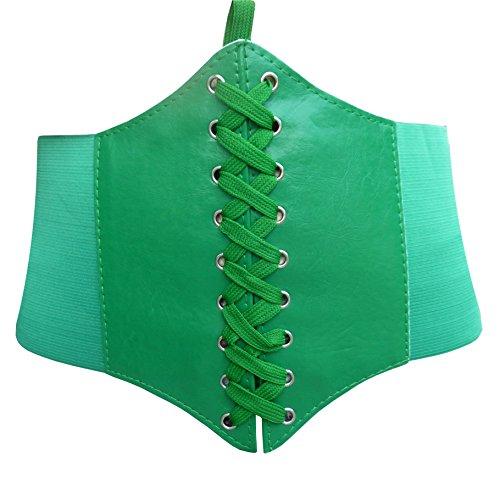 HOEREV Elastic Wide Band Elastic Tied Waspie Corset Waist Belt,XX-Large,Green