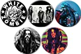 "Set of 5 WHITE ZOMBIE Pinback Buttons 1.25"" Pins / Badges"