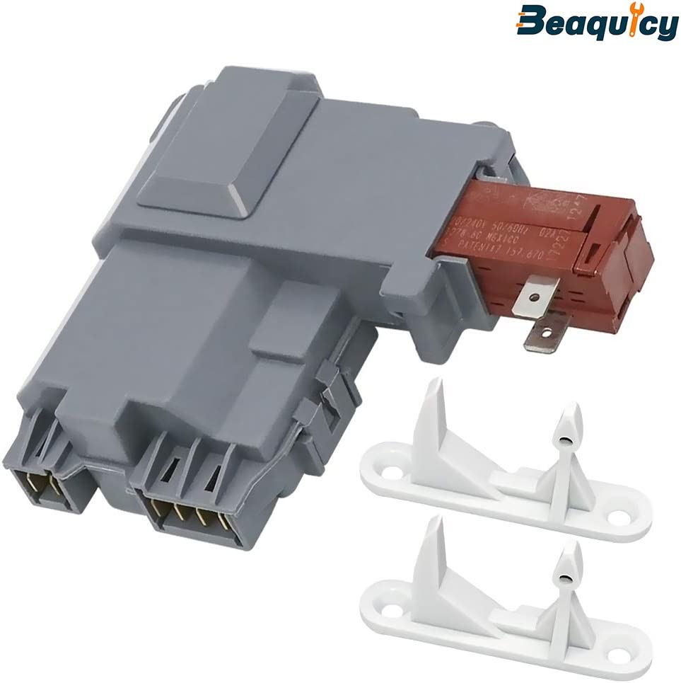 Beaquicy 131763202 Washer Front Load Washer Door Lock Latch Switch with 131763310 Door Strike - Replacement for Frigidaire Kenmore Crosley Washing Machine