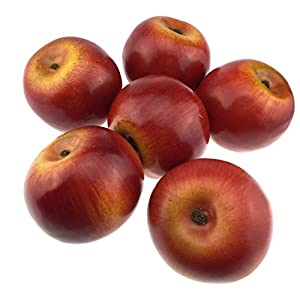 Gresorth 6pcs Lifelike Artificial Red Apple Faux Fake Apples Fruit Home House Kitchen Cabinet Decoration 28