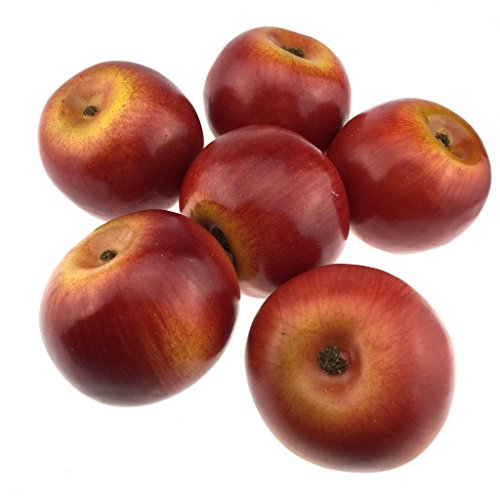 Gresorth 6pcs Lifelike Artificial Red Apple Faux Fake Apples Fruit Home House Kitchen Cabinet Decoration by Gresorth