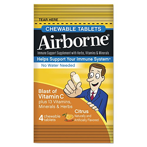 Airborne Immune Support Chewable Tablets, Citrus, 4/Pack, 144 Pack/Carton 89980 by Airborne