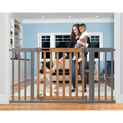 "Summer Infant West End Safety Gate, 36"" - 60"" Wide & 30"" Tall, for Doorways & Stairways, with Auto-Close & Hold-Open, Honey Oak & Slate Grey, 36""- 60"" Wide"