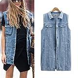 Desirca Denim Vests Spring Women Ripped Medium-Long Summer Waistcoat Turn-Down Collar Coat Sleeveless Denim Jacket Plus Size 5Xl Sky Blue Xxxl