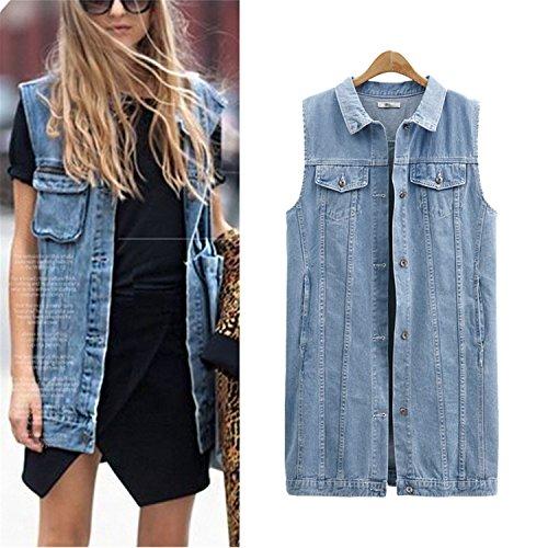 Desirca Denim Vests Spring Women Ripped Medium-Long Summer Waistcoat Turn-Down Collar Coat Sleeveless Denim Jacket Plus Size 5Xl Sky Blue Xxxl by Desirca