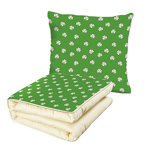 (iPrint Quilt Dual-Use Pillow Irish Old Fashioned Polka Dots Backdrop with Cultural Flowers Clovers Retro Classic Multifunctional Air-Conditioning Quilt Lime Green White)