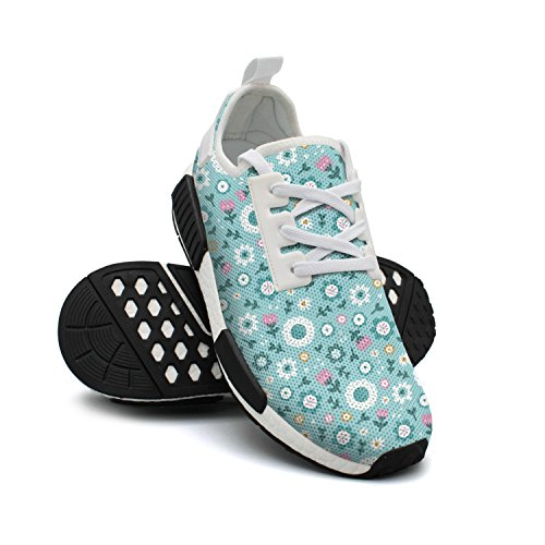 Breathable Shoes Fashion Lightweight Sneakers Original Blue Mesh Sneakers Flowers Womens FAAERD Passion O76Zqwq