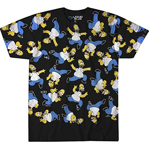 Liquid Blue Unisex-Adult's Simpsons Homer Pile Short Sleeve T-Shirt, Black, X-Large (Simpson Tshirt)