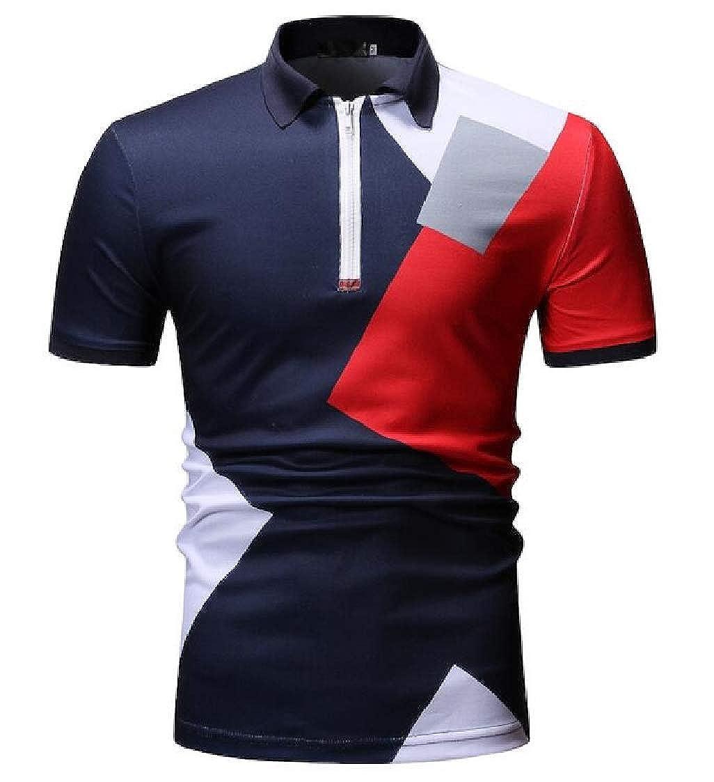 Nanquan Men Leisure Colorblock Hipster Short Sleeve Summer Half Zip up Polo Shirt