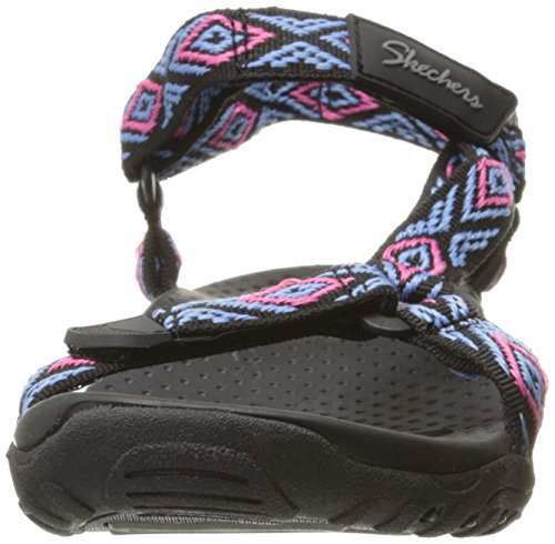 Black Women's Flat Skechers Multi Decked Out Reggae Sandal v84ORq