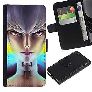 // PHONE CASE GIFT // Moda Estuche Funda de Cuero Billetera Tarjeta de crédito dinero bolsa Cubierta de proteccion Caso Apple Iphone 5 / 5S / Evil Girl /