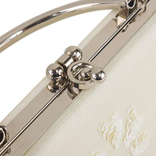 Farfalla 90373 - Bolso estilo sobre de satén mujer blanco - marfil