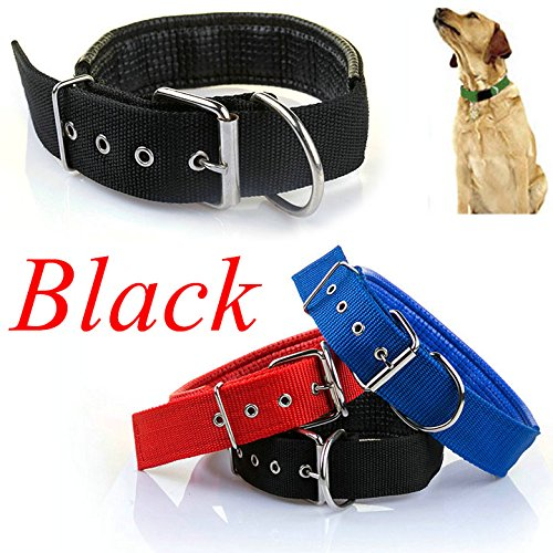 Easygoby Adjustable Soft Fabric Pet Dog Puppy Collar with Buckle and Clip for Lead Leash S Black