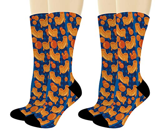 Foodie Gift Set Mac n Cheese Socks Food Related Gifts Funny Dress Socks 2-Pair Novelty Crew Socks (Best Food Related Gifts)