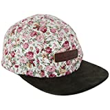 white 5 panel hat - Skyed Apparel 5 Panel Hat Collection With Genuine Leather Strap (Multiple Colors) (White Floral Cap - Dark Olive Suede Brim)