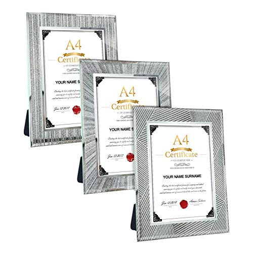 Giftgarden-A4-Photo-Frame-Glass-Certificate-Frame-21-x-297cm-for-Tabletop-DisplayPack-of-3