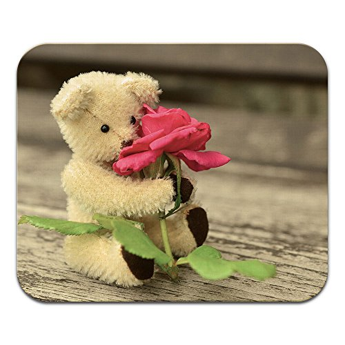 Price comparison product image Tadnil Teddy Bear Hugging a Rose Non-Slip Rectangle Mouse pad for Home, Office and Gaming Desk