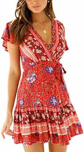 63fe122b010 ECOWISH Women Bohemian Vintage Printed Ethnic Style Dress V Neck Short  Sleeves Mini Dress