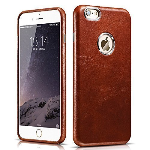 iPhone 6 Plus / 6S Plus Case, Icarercase [Vintage Classic Series] Luxury Premium Genuine Real Leather Case Back Cover with [Ultra Slim] for Apple iPhone 6 Plus / 6S Plus 5.5 Inch (Brown)