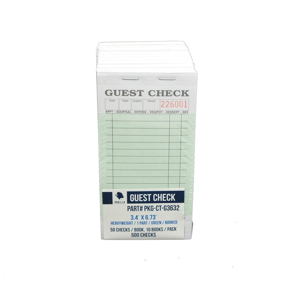 Guest Check PKG-CT-G3632 Heavyweight, Single Part, Perforated, Green, 3.4'' x 6.73'' Qty: 500 (50 of 10 books)
