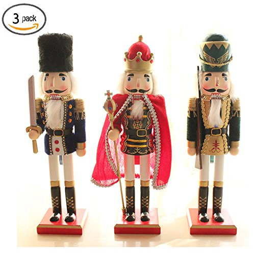 3 Costumes Christmas Kings (Yzakka 15Inch Nutcracker Wooden Soldier Toys Set Ornaments Holiday Decoration Gifts Pack of 3)