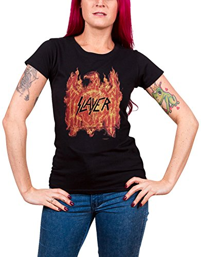 Slayer T Shirt Flaming Eagle Repentless Tour Official Womens Junior Fit - Slayer T-shirt Eagle