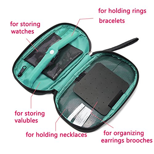 Suzanne George Travel Jewelry Organizer Case, Jewelry Storage Bag Earring Necklace Pouch for Women,Black by Suzanne George (Image #4)