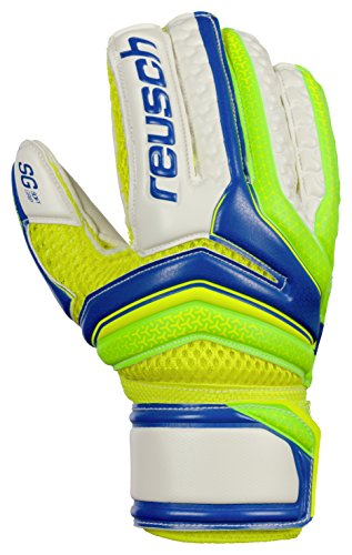 Reusch Soccer Serathor SG Finger Support Junior Goalkeeper Gloves, Green/Blue, 5