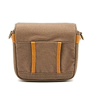 Compact SLR Camera Shoulder Bag Evecase Small Canvas Shoulder Pouch Case For 4/3 Micro Four third / Compact system / Mirrorless / Power Zoom / Instant Instax Film Digital Camera- Brown from Evecase