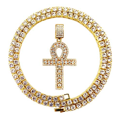 HH Bling Empire Mens Iced Out Hip Hop Gold Artificial Diamond Ankh Cross Pendant cz Tennis Chain 22 Inch (Tennis Chain & Ankh H) ()