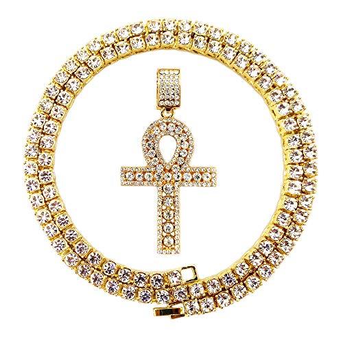 (HH Bling Empire Mens Iced Out Hip Hop Gold Artificial Diamond Ankh Cross Pendant cz Tennis Chain 22 Inch (Tennis Chain & Ankh)