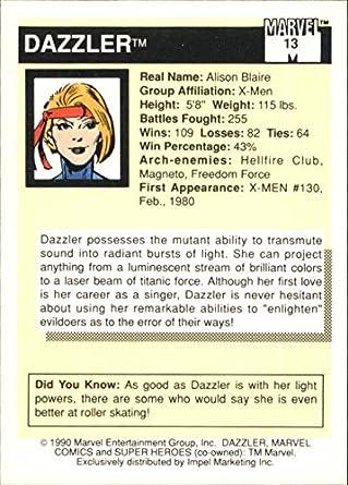 1990 Impel Marvel Universe Series I Card #13 Dazzler
